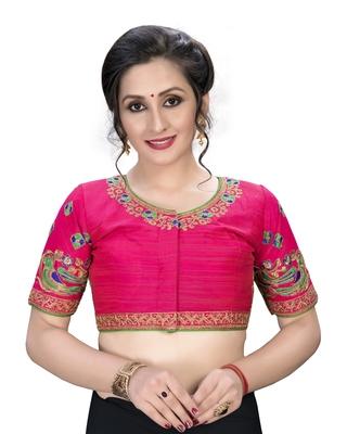 Pink  Women's Embroiderey santoon Silk Blouse