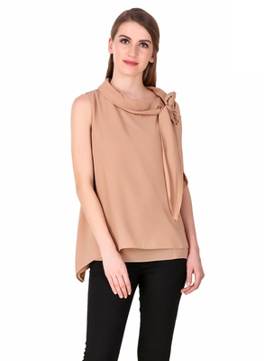 Beige plain cotton sleeveless-tops