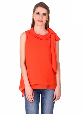 Orange plain cotton sleeveless-tops
