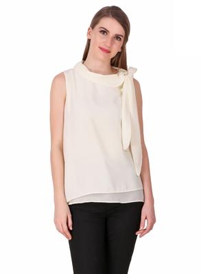 White plain cotton sleeveless-tops