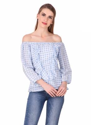 Blue printed cotton cotton-tops