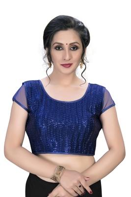 Blue  Women's Embroiderey Silk Blouse