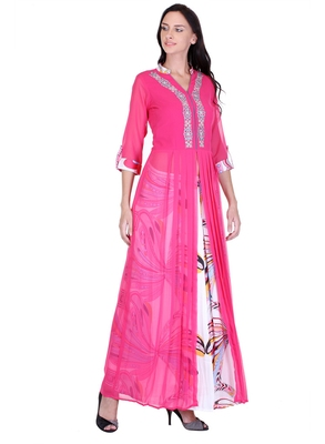 Women's Pink Georgette Printed Ethnic Top and Skirt Set