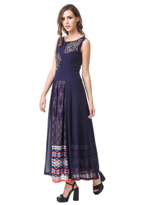 Women's Navy Blue Georgette Printed Ethnic Top and Skirt Set