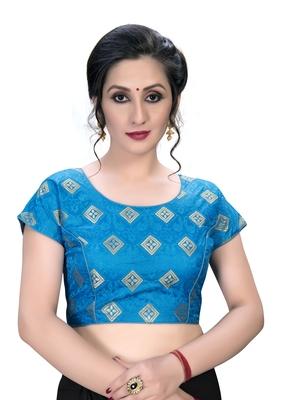 Blue  Women's Embroiderey Jacquard Blouse