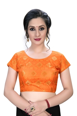Orange  Women's Embroiderey Jacquard Blouse