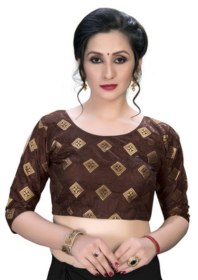 Brown  Women's Embroiderey Jacquard Blouse