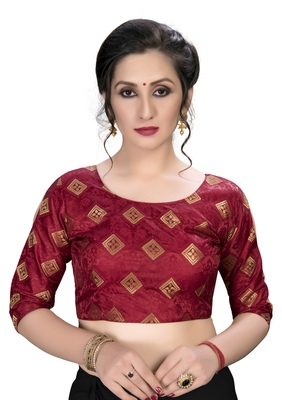 Maroon  Women'S Embroiderey Jacquard Blouse