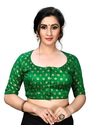 Green Women's Embroiderey Jacquard Blouse