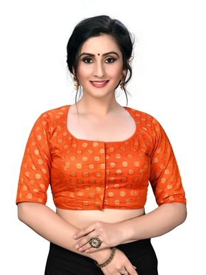 Orange Women'S Embroiderey Jacquard Blouse