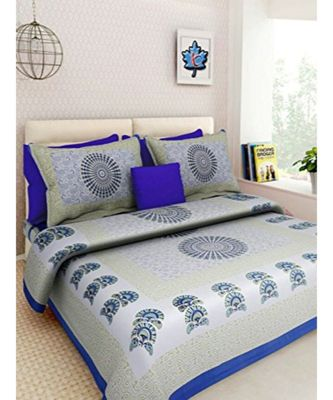 Blue & Grey Printed King Size Bedsheet with 2 Pillow Cover