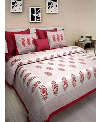 Red Printed King Size Bedsheet with 2 Pillow Cover