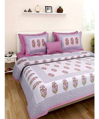 Pink Flower Print King Size Bedsheet with 2 Pillow Cover