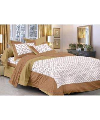 Brown & White Paisley Design King Size Bedsheet with 2 Pillow Cover