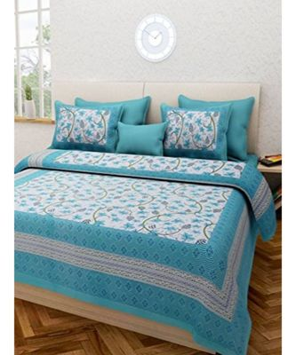 Blue Flower Print King Size Bedsheet with 2 Pillow Cover