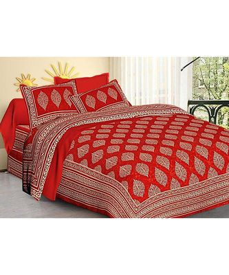 Red Printed Rajasthani King Size Bedsheet with 2 Pillow Cover