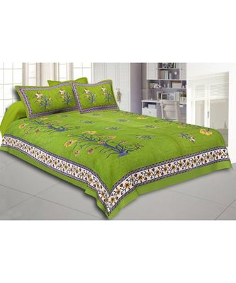 Green Flower Plant Design King Size Bedsheet with 2 Pillow Cover