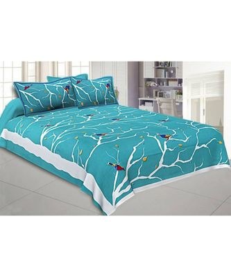 Sky Blue Bird on Tree King Size Bedsheet with 2 Pillow Cover