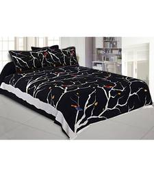 Black Bird on Tree King Size Bedsheet with 2 Pillow Cover