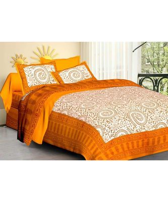 Mustard Cakri Print King Size Bedsheet with 2 Pillow Cover