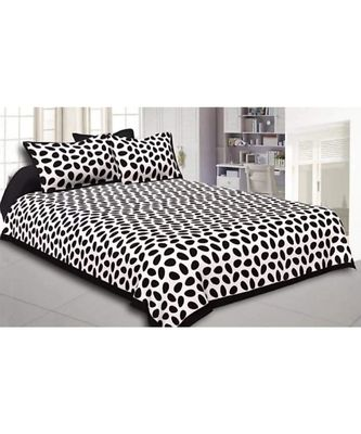 Black Printed King Size Bedsheet with 2 Pillow Cover