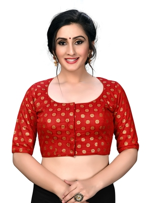 Red Women's Embroiderey Jacquard Blouse