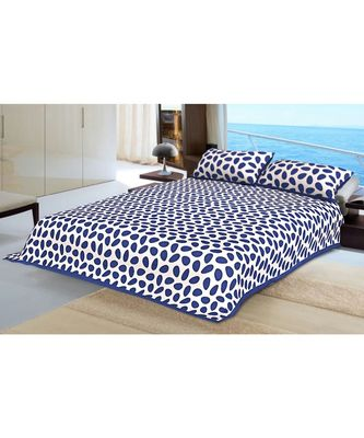 Blue Printed King Size Bedsheet with 2 Pillow Cover