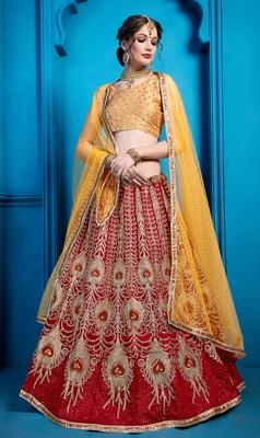 Maroon Zari and Thread Embroidered art silk semi stitched lehenga choli with dupatta