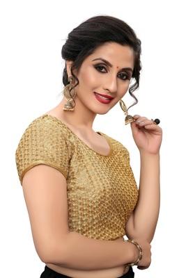 Beige Women's Embroiderey Silk Blouse