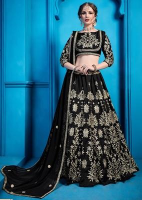 Black Zari Embroidered art silk semi stitched lehenga choli with dupatta
