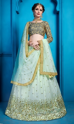 Sea blue Thread and Sequins Embroidered net semi stitched lehenga choli with dupatta