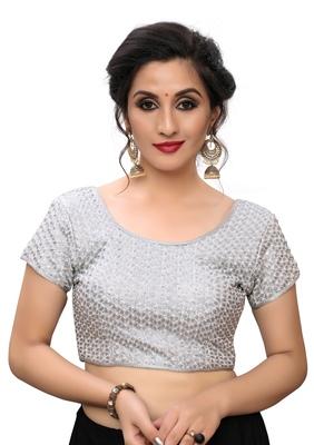 Silver Women's Embroiderey Silk Blouse