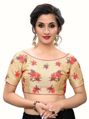 Pink Women'S Embroiderey Silk Blouse