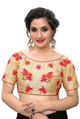 Red Women's Embroiderey Silk Blouse