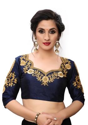 Blue Women'S Embroiderey Santoon Blouse