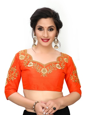 Orange Women's Embroiderey santoon Blouse
