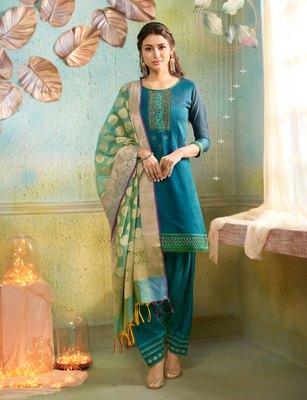 Blue embroidered chanderi silk salwar