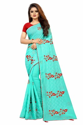 Sea green embroidered chanderi saree with blouse