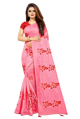 Light red embroidered chanderi saree with blouse