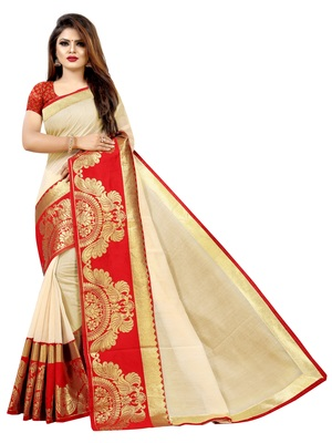 Cream woven chanderi saree with blouse