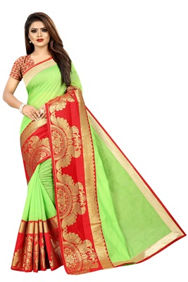 Parrot green woven chanderi saree with blouse