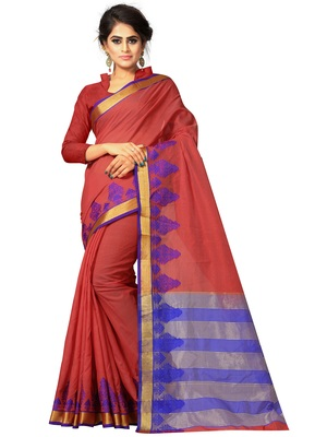 Dark red woven cotton silk saree with blouse