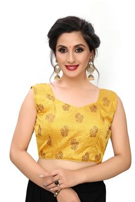 Yellow Women'S Printed Silk Blouse
