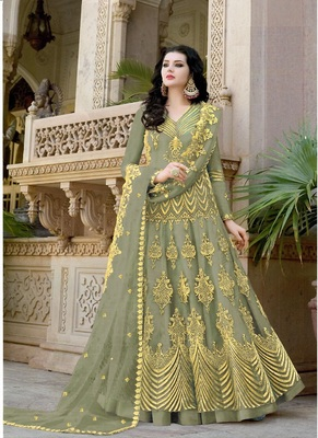 Mehendi embroidered net salwar