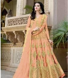 Orange embroidered net salwar