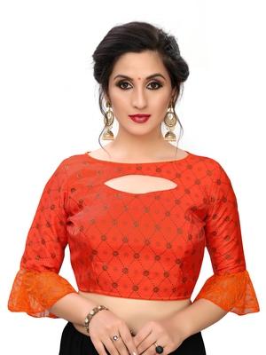 Orange Women's Printed Silk Blouse