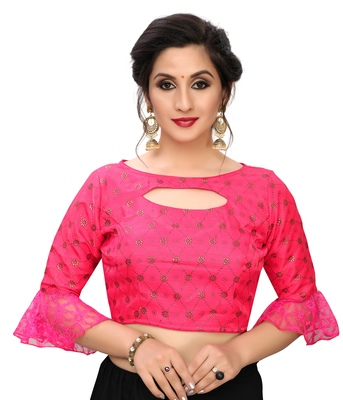 Pink Women's Printed Silk Blouse