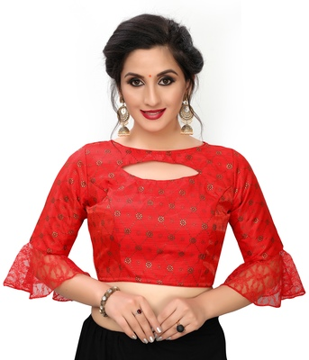 Red Women's Printed Silk Blouse