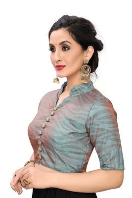 Grey Women'S Printed Silk Blouse
