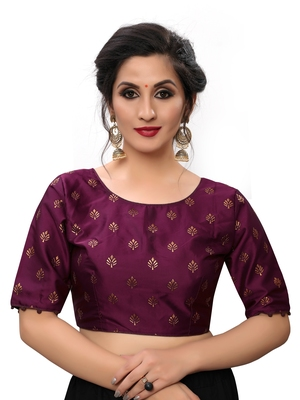 Purple Women's Printed Silk Blouse